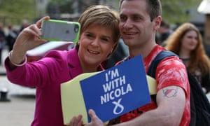 SNP leader Nicola Sturgeon with a supporter in Edinburgh