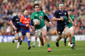 Ireland's Joey Carbery during the build-up to their third try.