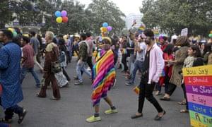 Activists on a gay pride parade in Delhi