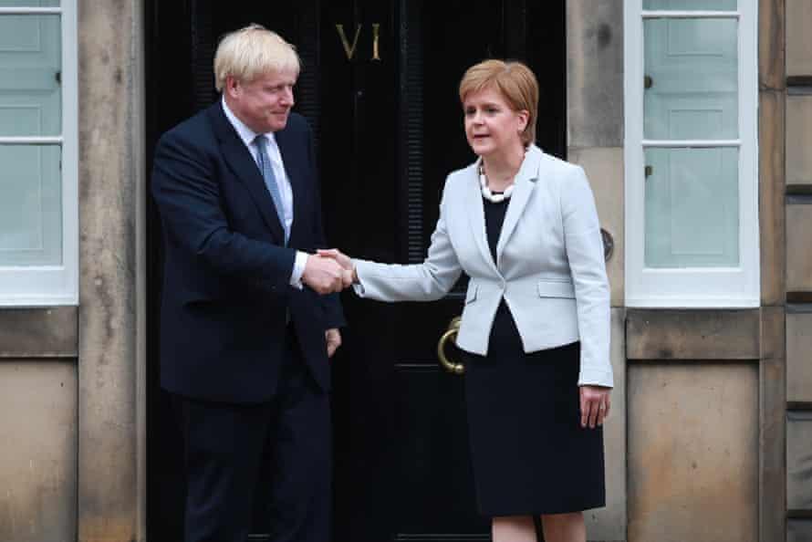 Boris Johnson and Nicola Sturgeon at Bute House, Edinburgh, 29 July 2019