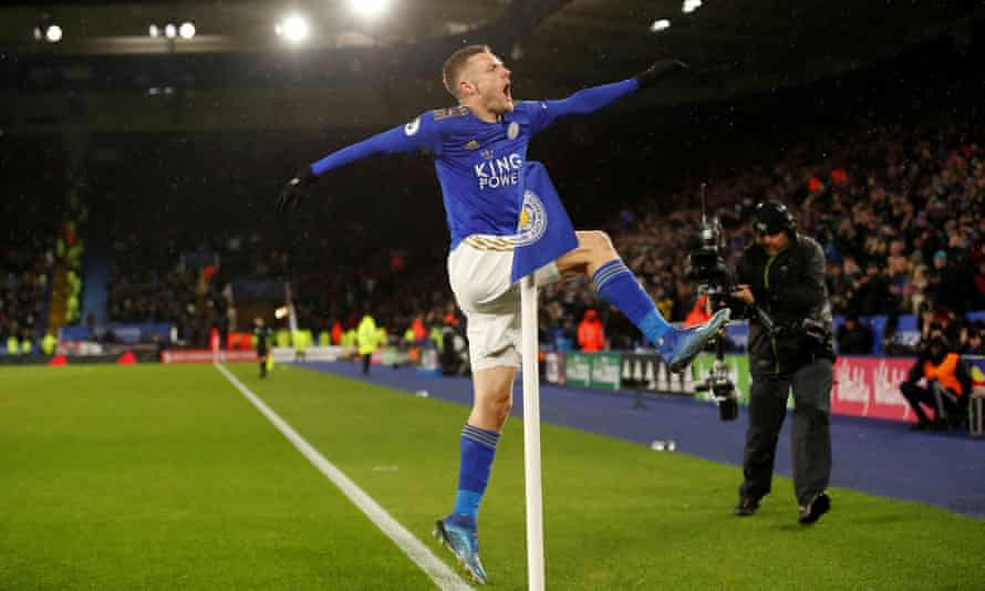 Jamie Vardy celebrates as Leicester tightened their grip on a Champions League spot