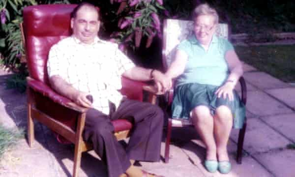 Laura's parents, Ralph and Helen Marcus, in their garden in Surrey.