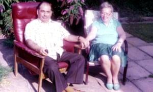 Laura's parents, Ralph and Helen Marcus, in their garden in Surrey.