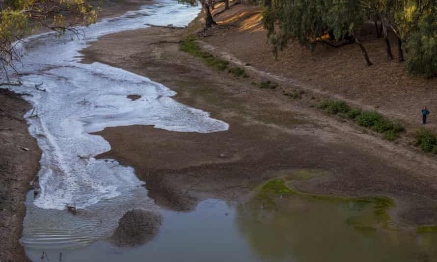 A new flow is seen meeting pools of green water along the Darling Barka river in Louth, Australia