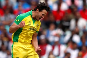 Coulter-Nile celebrates Australia's first wicket.