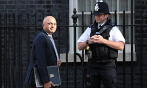 Sajid Javid and police officer in Downing Street