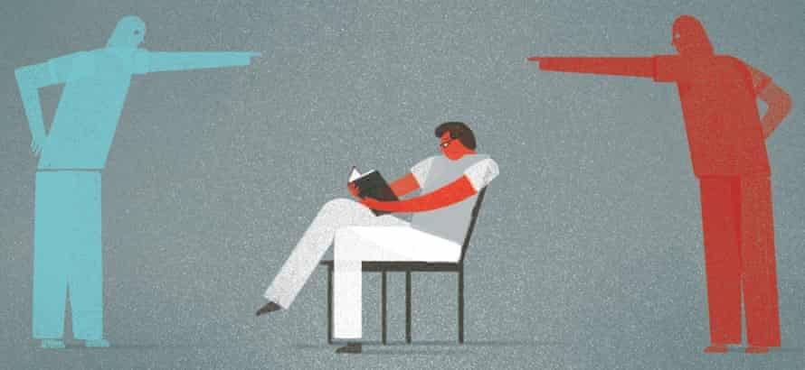 Illustration of a man sitting in a chair reading a book, with a figure either side pointing