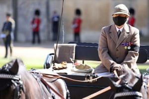 Prince Philip's personal effects  on seat of carriage
