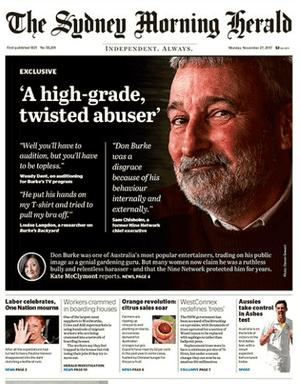 Sydney Morning Herald front page, 27 November 2017