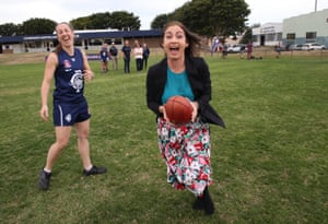 The member for Griffith Terri Butler plays around after Opposition leader Bill Shorten left a campaign event at Coorparoo football club in the electorate of Griffith this afternoon, Tuesday 31st May 2016.