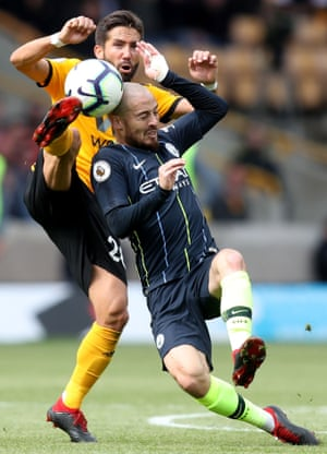 David Silva of Manchester City is kicked in the head by João Moutinho of Wolverhampton Wanderers during the 1-1 draw at Molineux. Wolves have lost just two of their 28 home games under Nuno Espírito Santo, winning 18 and drawing eight. City conceded the opening goal in a league game for the first time in 18 games.