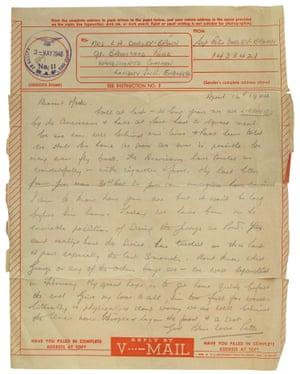 V-Mail telegram from Peter Dorley-Brown