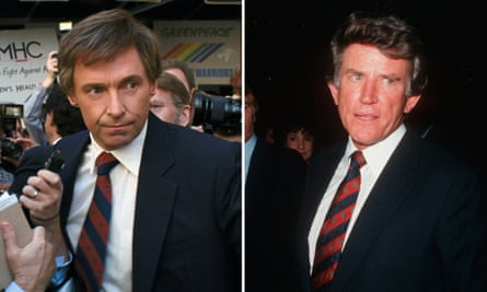 Hugh Jackman in The Front Runner, left, and Gary Hart in 1987.