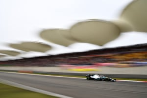 Lewis Hamilton of Great Britain driving the (44) Mercedes AMG Petronas F1 Team Mercedes W10 on track during the F1 Grand Prix of China at Shanghai International Circuit.