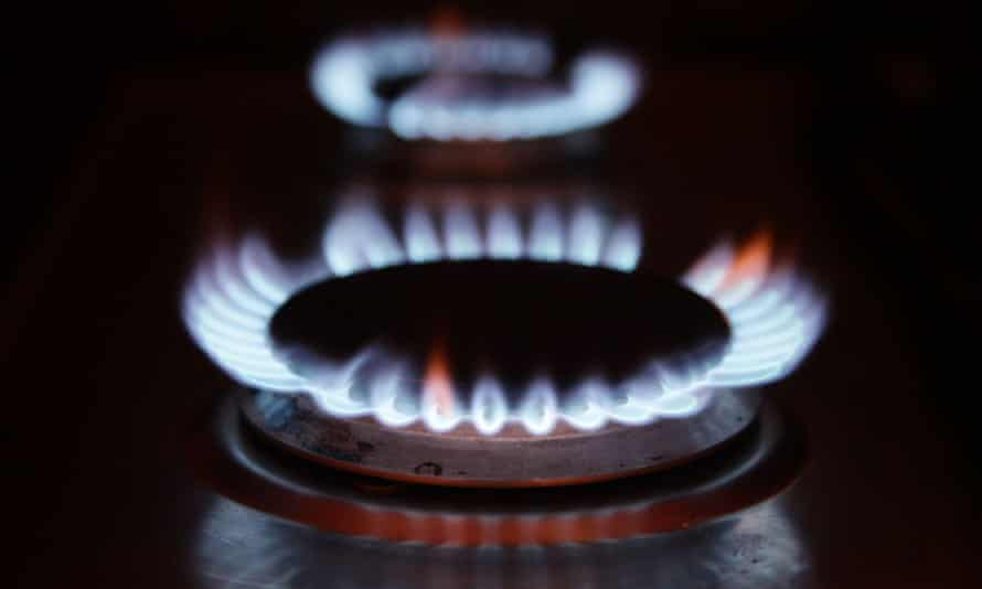 Two blue-flamed gas rings