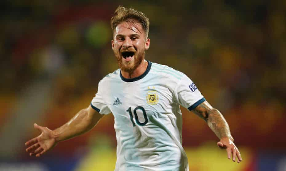 Alexis Mac Allister celebrates after scoring for Argentina against Uruguay in an Olympic qualifier in February 2020.