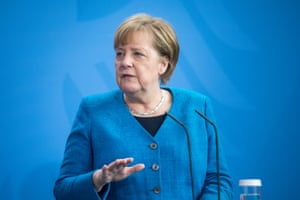 German Chancellor Angela Merkel speaks to the media following a virtual meeting of the European council.