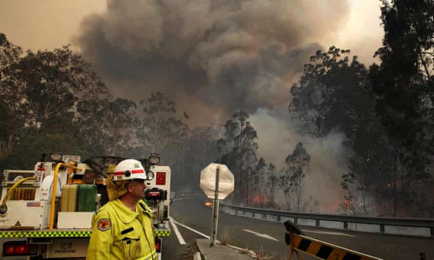A roadblock at Possum Brush on the mid-north coast of New South Wales on 12 November.