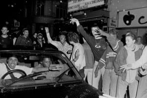 Ravers dancing outside 'the Trip' at the Astoria London 1988
