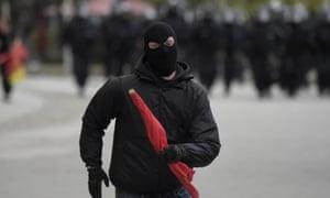 A masked demonstrator