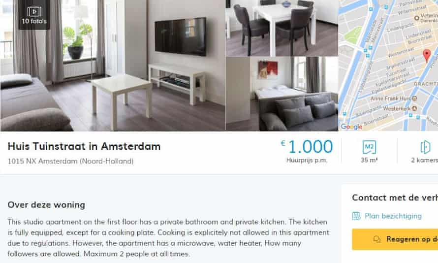 The apartment advert on the website
