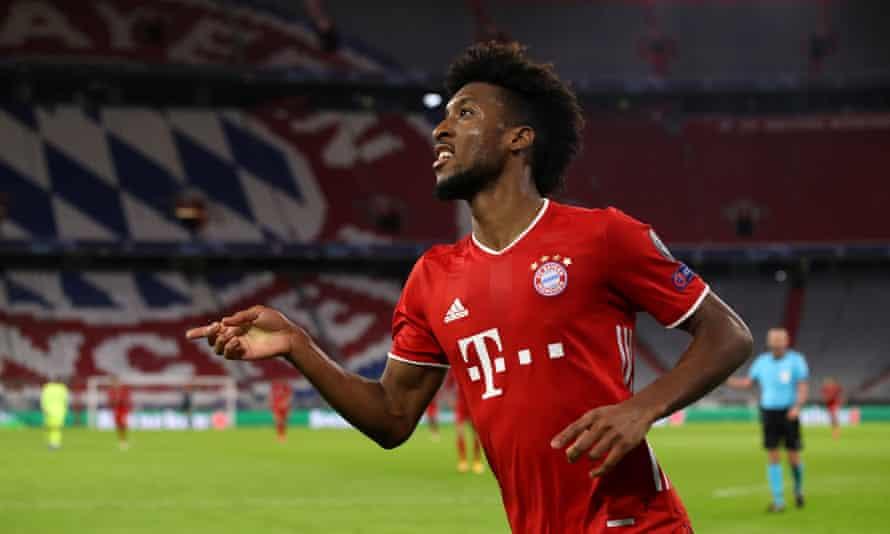 Kingsley Coman celebrates after scoring Bayern's fourth goal against Atléŧico Madrid.