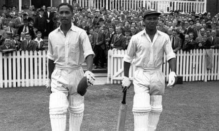 Sir Everton Weekes (right) walks out with Frank Worrell to face England at Trent Bridge.