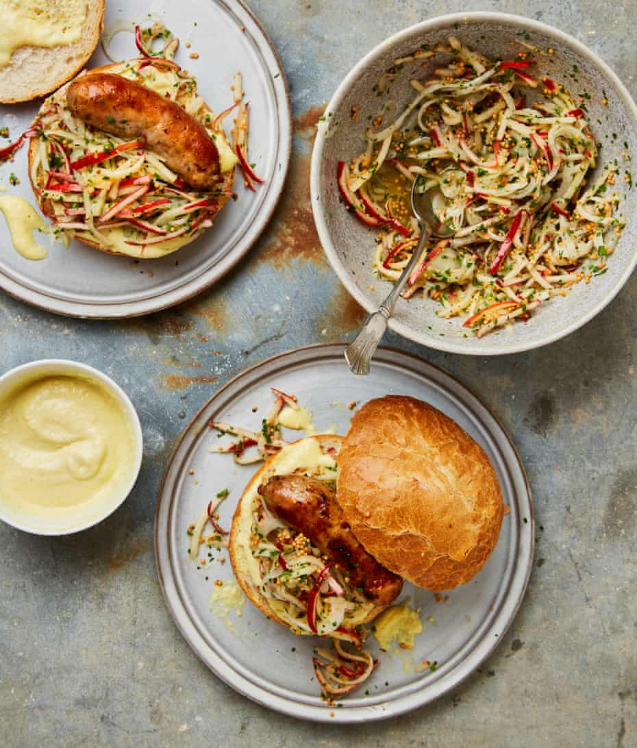 Yotam Ottolenghi's sausage sandwiches with apple mustard and apple slaw.