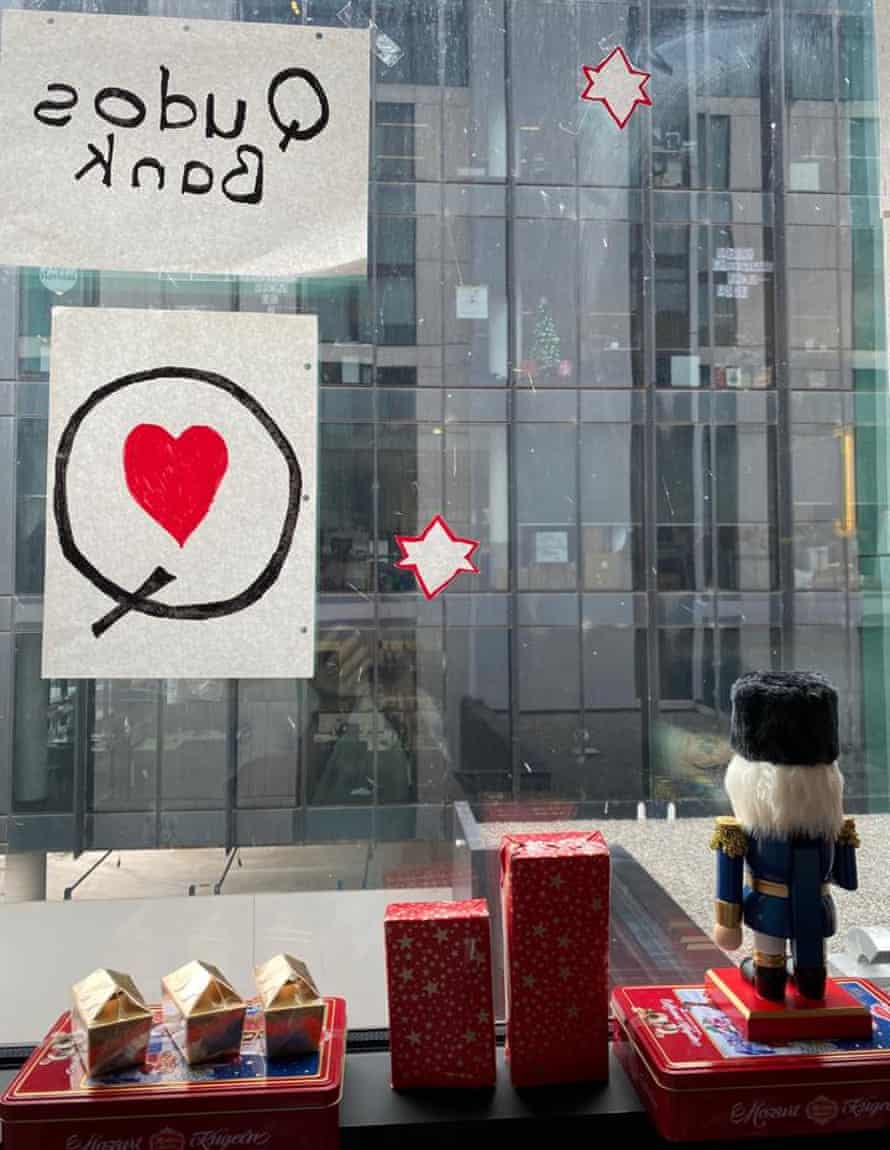 Browyn Young's impromptu Christmas arts and crafts window display aimed at staff at Qudos Bank who work in the opposite office building.