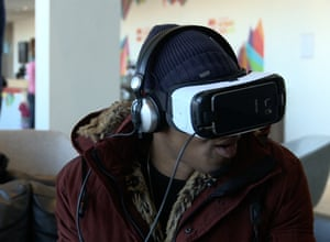 A Royal Festival Hall visitor wearing a virtual reality headset.