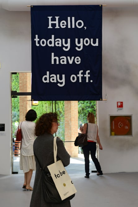 Jeremy Deller's 'Hello, today you have a day off' at the Venice Biennale