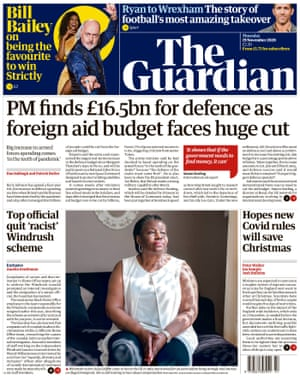 Guardian front page, Thursday 19 November 2020