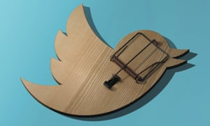 Wooden mouse trap in the shape of twitter logo
