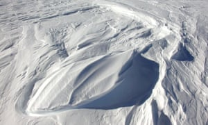 Small dune forms called sastrugi formed of snow   in East Antarctica.