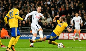 Giorgio Chiellini blocks the shot from Spurs' Christian Eriksen as the Juve defender helped his side over the line.