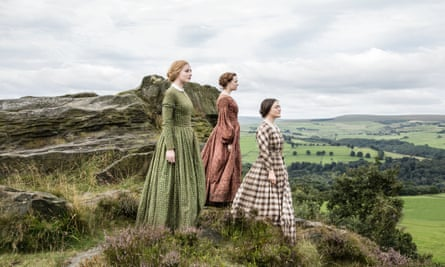 A still of the three Brontë sisters in the countryside from BBC1's drama To Walk Invisible.