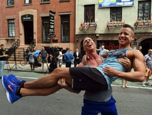 Justin Kattler and Tim Loecker from Dallas, Texas celebrate outside the Stonewall Tavern in New York.