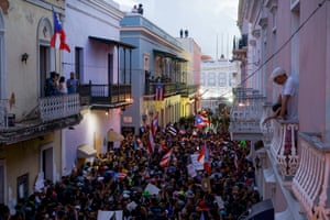 Thousands fill Calle Fortaleza outside the governor's mansion chanting songs asking for his resignation following a massive anti governor Ricky Rosselló rally in front of the Capitol building.