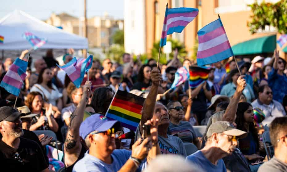 People wave transgender pride flags at a San Diego rally
