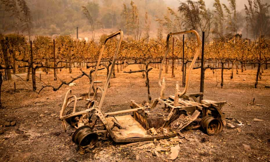 The remains of a golf cart caught in the wildfire at Calistoga, Napa Valley, California