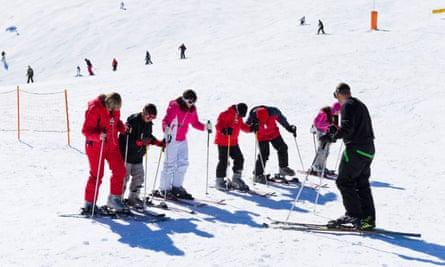 A ski instructor on the nursery slopes at Arinsal, Andorra.