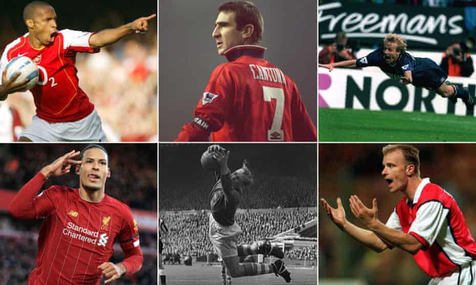 Clockwise from top left: Thierry Henry, Eric Cantona, Jürgen Klinsmann, Dennis Bergkamp, Bert Trautmann and Virgil van Dijk.