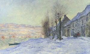 克劳德·莫奈的雪下Lavacourt的细节。
