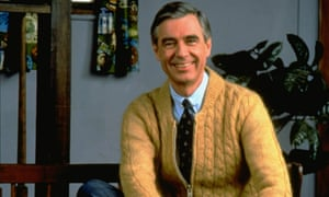 Fred Rogers on the set of his show Mister Rogers' Neighborhood.
