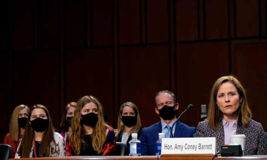 Amy Coney Barrett testifies on Wednesday on Capitol Hill. Barrett has not faced questions about her relationship with the People of Praise.