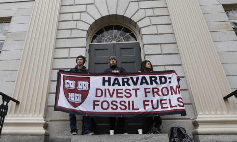 In March students blocked the entrance to Harvard's University Hall, demanding that the institution divest from fossil fuels.