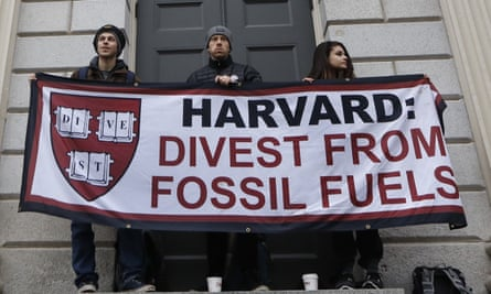 Harvard students demanding divestment from fossil fuels.