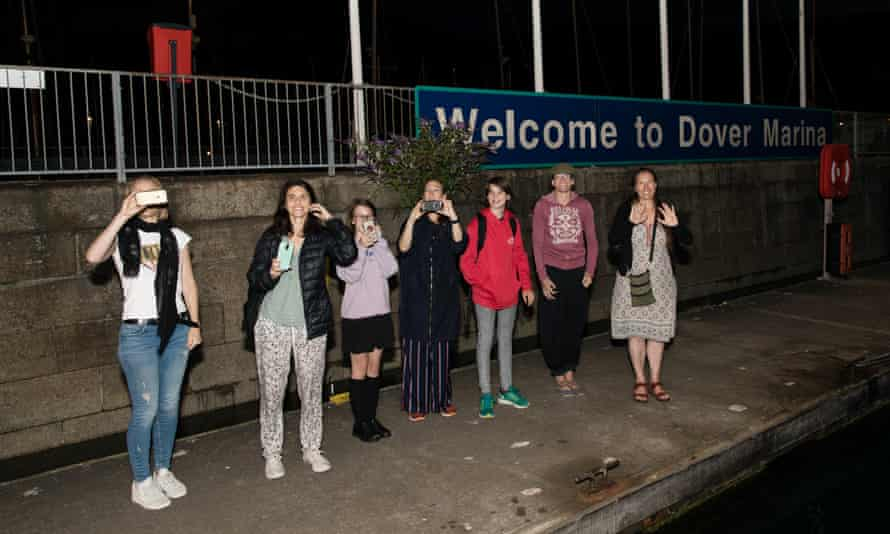 Family and friends wave the girls off from Dover Marina at 4am.