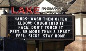 A marquee outside the Lake Theater & Café in Lake Oswego, Oregon.