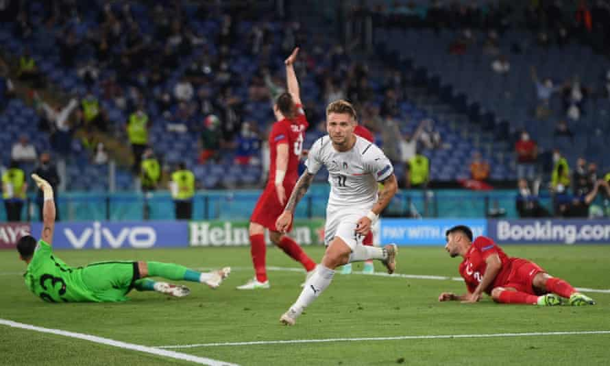 Ciro Immobile celebrates after overtaking Italy 2-0.